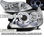 CITROEN C4 2004/2010 (Ref:LPCI09) Faros Angel Eyes Cromados (Regulacion Manual)