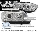 "BMW E90/E91 03.2005/08.2008 (Ref:LPBMI3) Faros Angel Eyes ""3D U-TYPE"" Cromados"