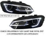 "VW POLO 6R 2011/2017 (Ref:PIL4142) Faros ""LED Light Bar Headlights Devil Eyes"""