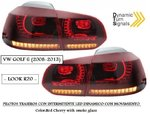 "VW GOLF 6 2008/2013 (Ref:PIL4153) Pilotos ""LOOK R20"" con Inter.LEDs Dinamico (Red Cherry Ahumado)"