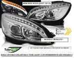 "MERCEDES ""W204"" 2007/2010 (Ref:LPMEC3) Faros Cromados ""TUBE LIGHT"" con Intermitente LEDs Dinamico"
