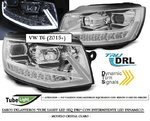"VW T6 2015+ (Ref:LPVWR8) Faros con Intermitente Dinamico ""TUBE LIGHT LED SEQ DRL"" Cromados"